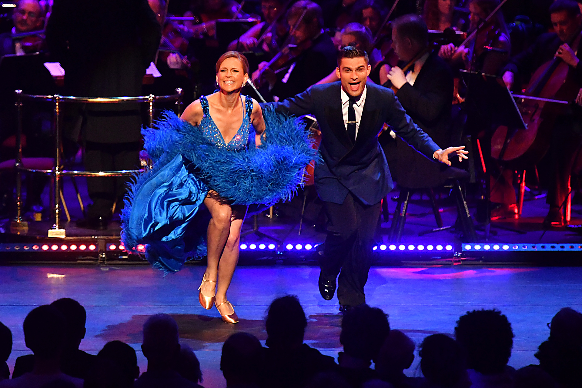 Prom 8: Katie Derham and Aljaz Skorjanec dance at the Strictly Prom with conductor Gavin Sutherland and the BBC Concert Orchestra at the Royal Albert Hall on 21st July 2016. Photo by Mark Allan/BBC.