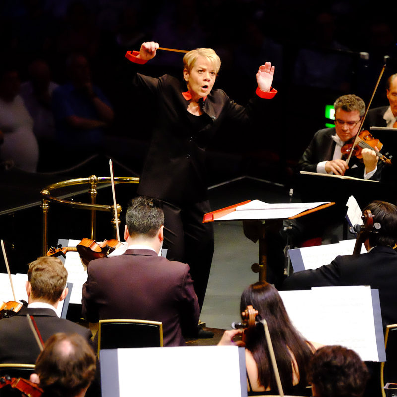 Prom 51: performed by the Sao Paulo Symphony Orchestra, conducted by Marin Alsop with Gabriela Montero on piano, (Marlos Nobre: Kabbalah-UK Premiere, Grieg: Piano Concerto in A Minor, Villa-Lobos: Bachianas brasileiras No. 4-Prelude, Rachmaninov: Symphonic Dances) at the RAH on Wednesday 24 Aug. 2016. Photo by Mark Allan/BBC