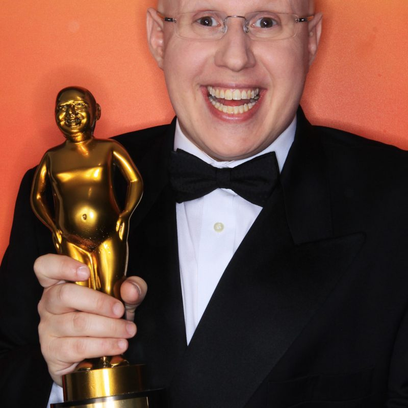 Matt Lucas with 'Lucas Award' for Radio 2 Programme 'And the winner is...'.