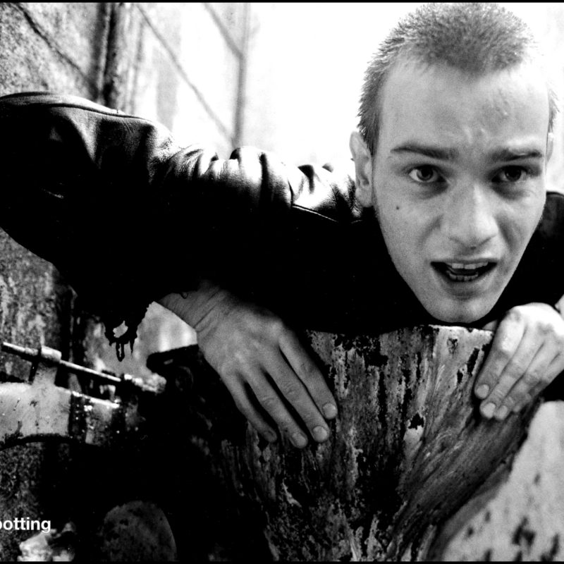 Ewan McGregor on the Trainspotting set, 1995. Photographer: Liam Daniel.