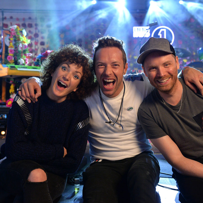 Coldplay and Annie Mac as part of Radio 1's Live Lounge at St. John's Church, Hackney on 3rd December 2015.