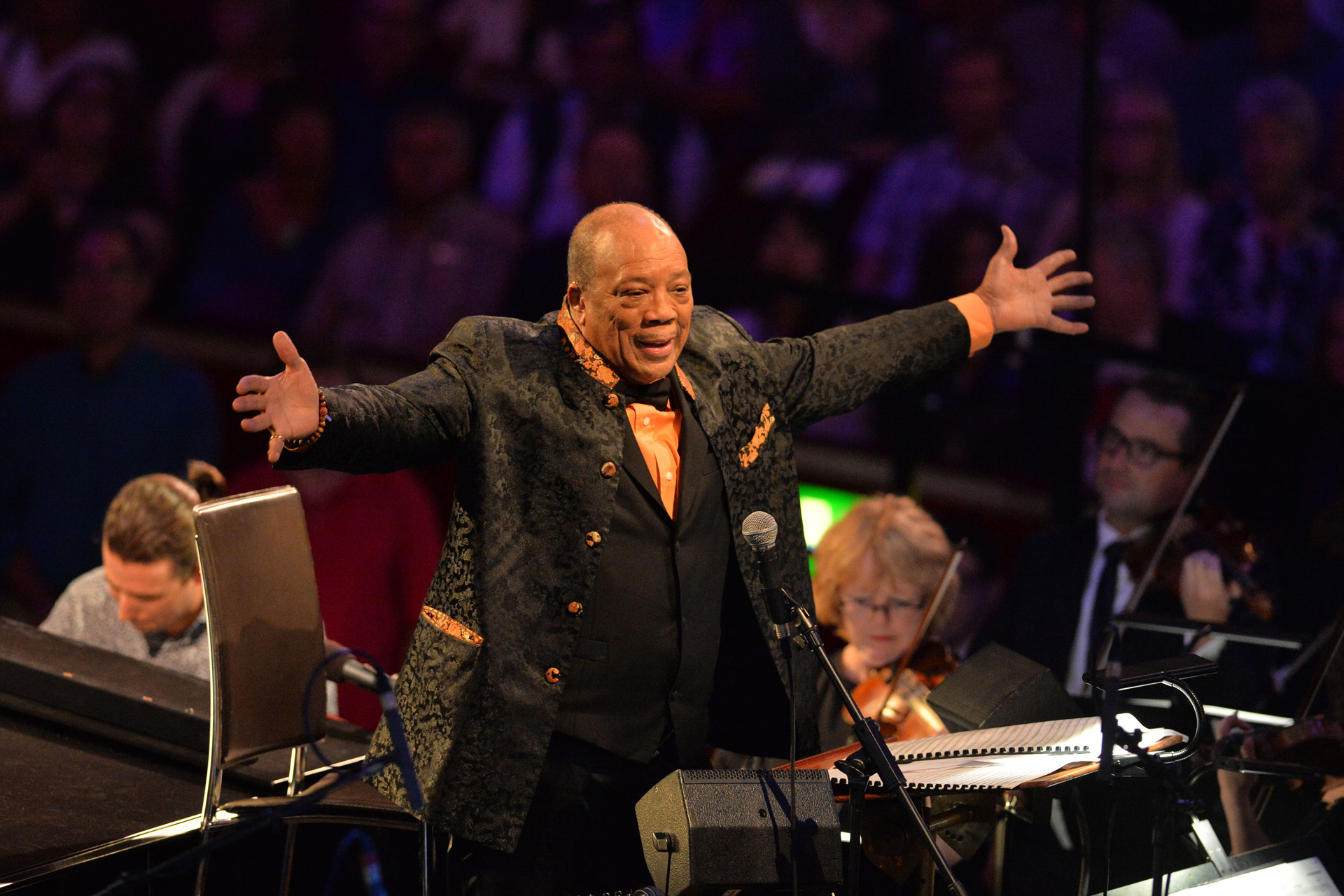 Prom 49: The Quincy Jones Prom at the Royal Albert Hall with the Metropole Orkest conducted by Jules Buckley (featuring Richard Bona: voice/bass guitar, Jacob Collier: voice/piano/synth, Alfredo Rodriguez: piano and Cory Henry: jazz organ and Laura Mvula) on 11th August 2016.
