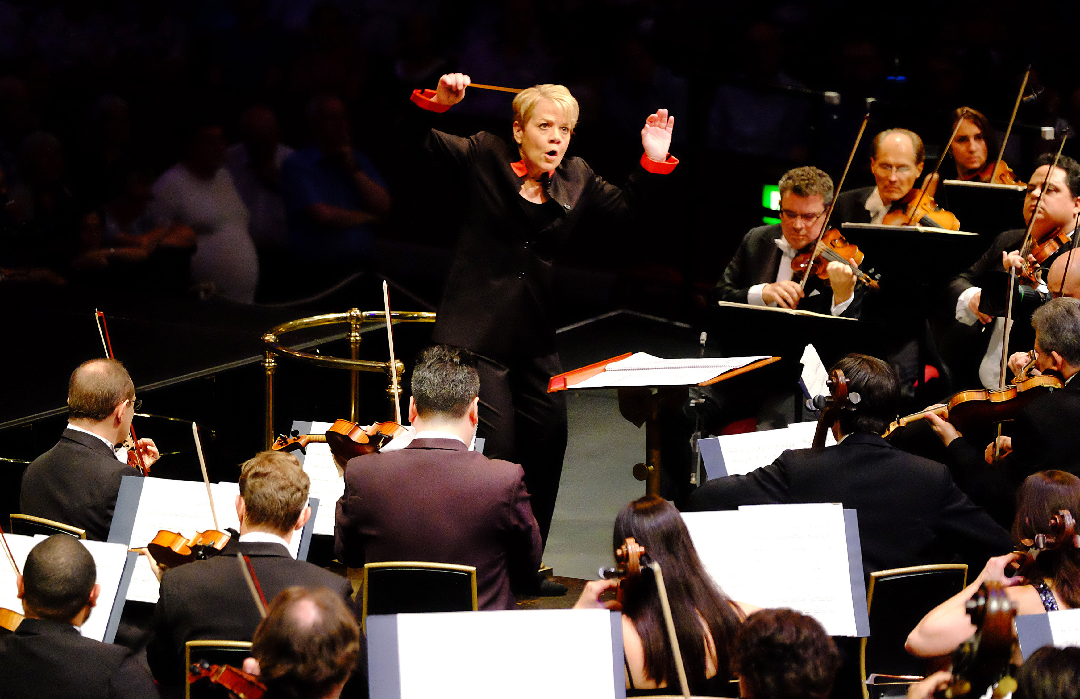 Prom 51: performed by the Sao Paulo Symphony Orchestra, conducted by Marin Alsop with Gabriela Montero on piano, (Marlos Nobre: Kabbalah-UK Premiere, Grieg: Piano Concerto in A Minor, Villa-Lobos: Bachianas brasileiras No. 4-Prelude, Rachmaninov: Symphonic Dances) at the Royal Albert Hall on 24th August 2016. Photo by Mark Allan/BBC.