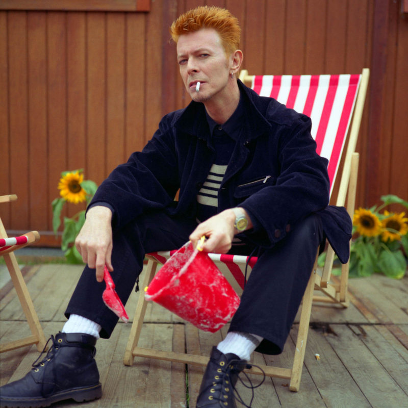 David Bowie backstage at the Roskilda Festival, 1996. Photographer: Mark Allan.