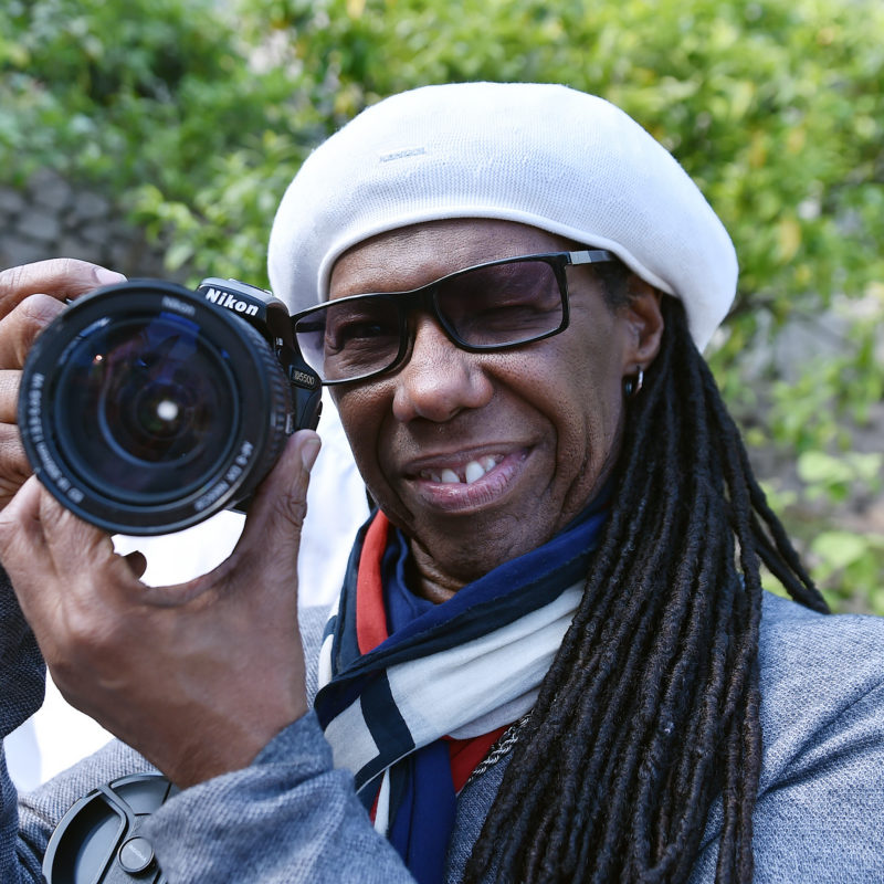 Nile Rodgers backstage for the One Show as part of BBC Music Day, 2016. Photographer: Sarah Jeynes. © BBC.