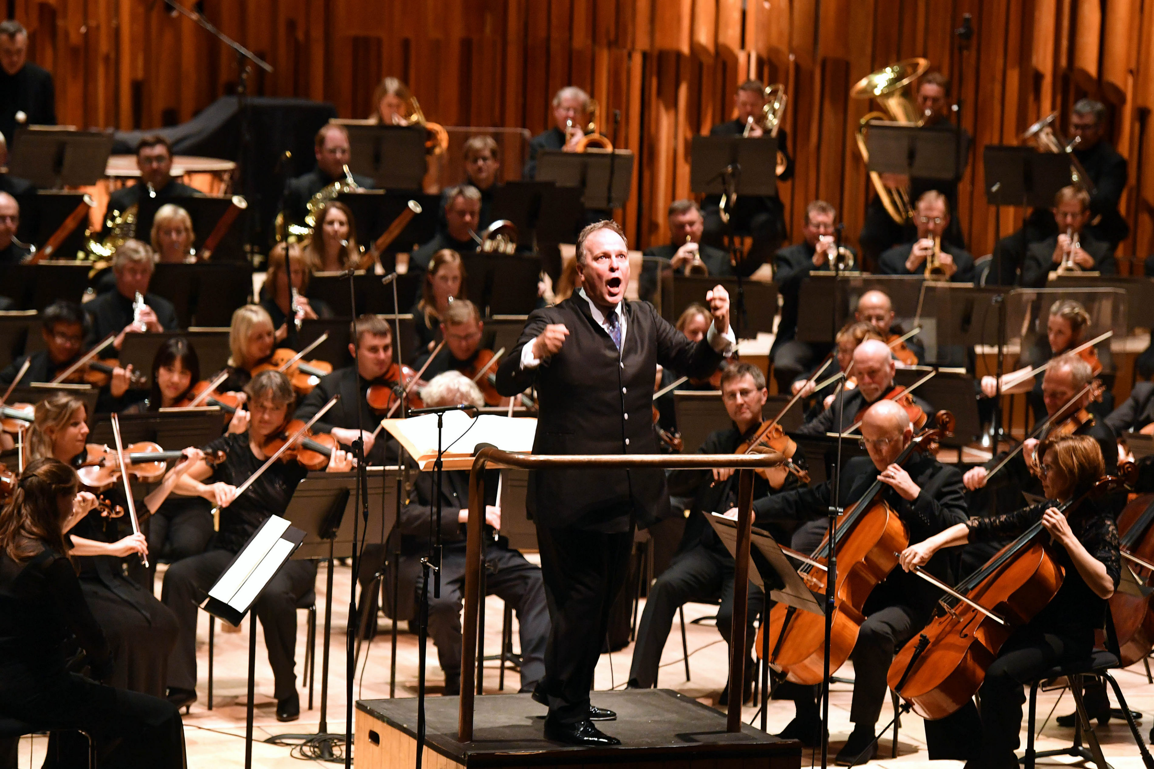 The BBC Symphony Orchestra conducted by Sakari Oramo 'Happy 70th Anniversary' to Radio 3, at the Barbican Hall, on 28th September 2016. Photographer: Mark Allan. © BBC.