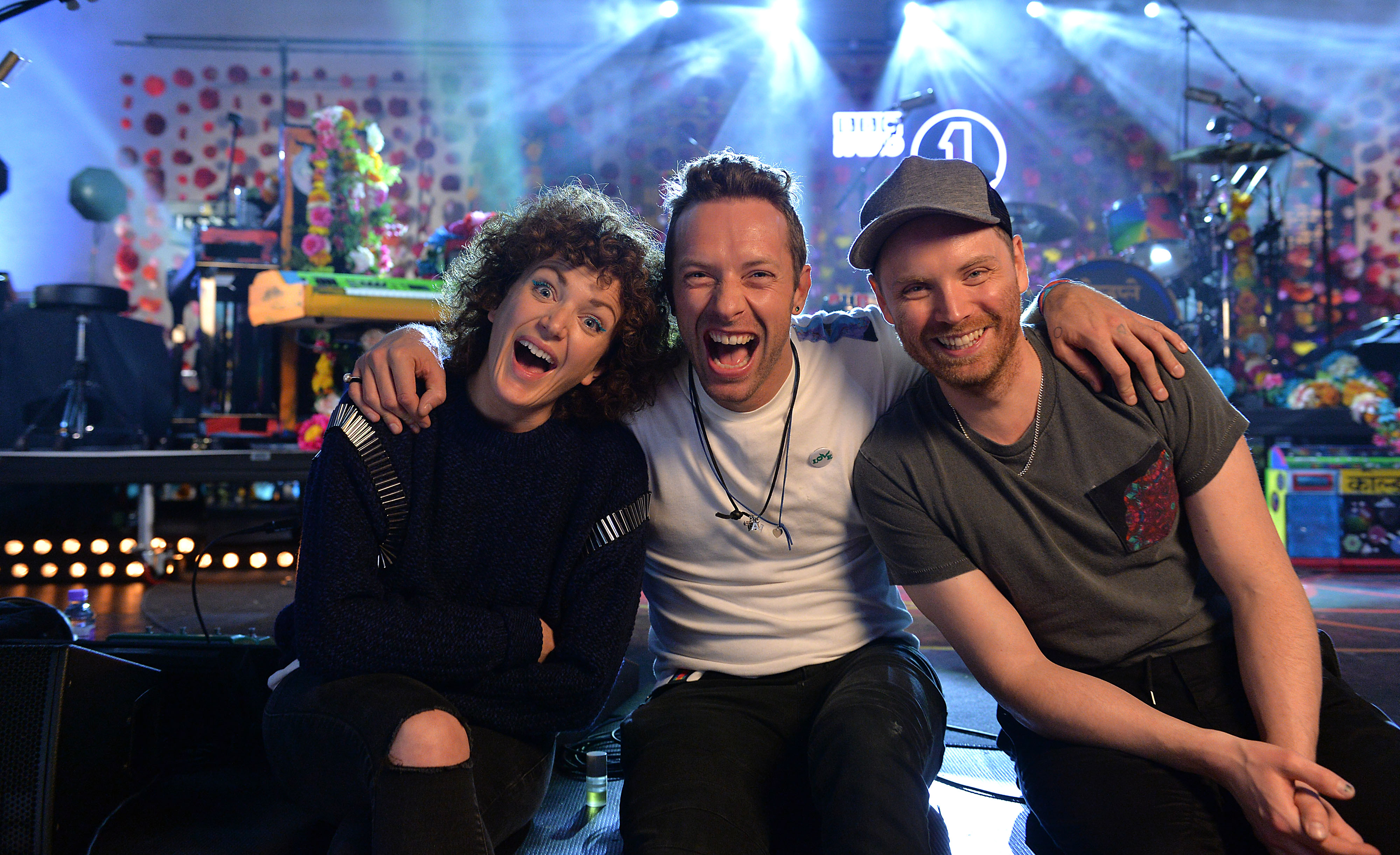 Coldplay and Annie Mac as part of Radio 1's Live Lounge at St. John's Church, Hackney on 3rd December 2015. Loftus Media Photographer: Mark Allan. © BBC.